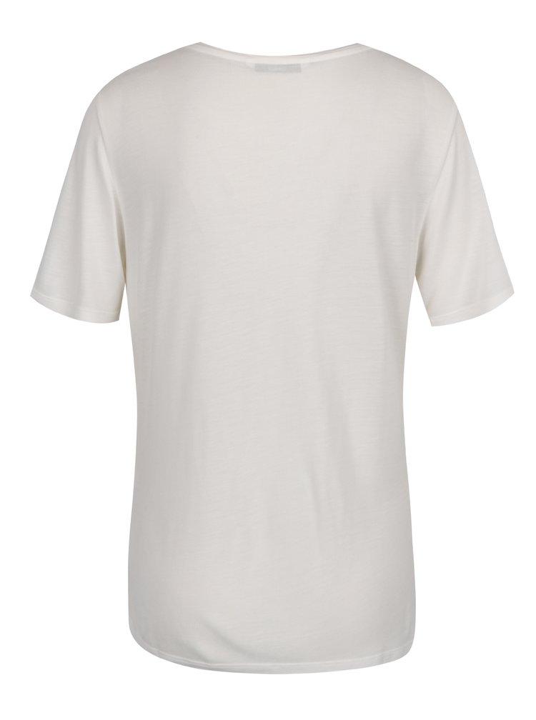 Krémové tričko s potiskem ve stříbrné barvě ONLY You And Me