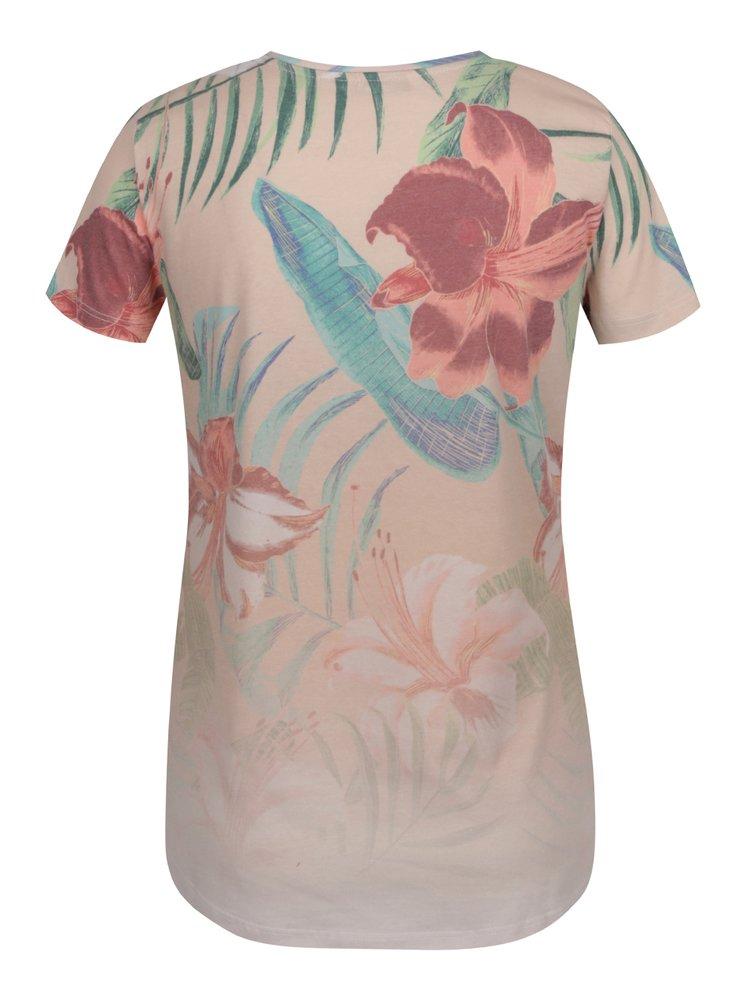 Růžové květované tričko ONLY Tropical Summer