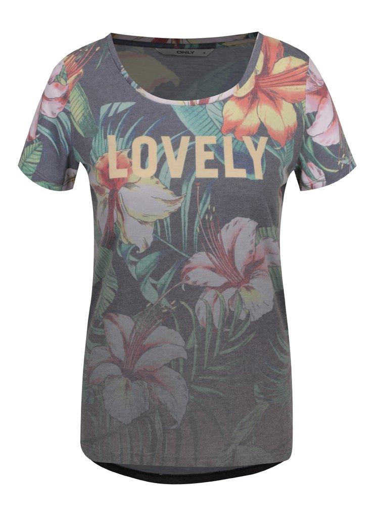Šedé květované tričko s potiskem ONLY Tropical Summer