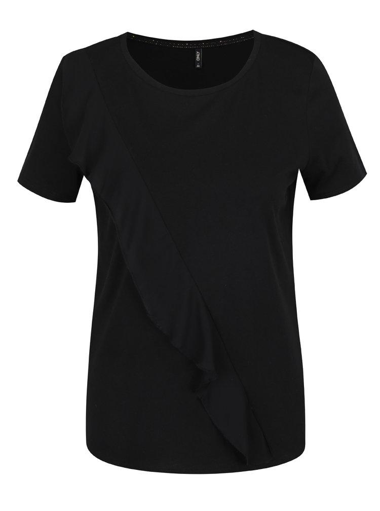 Černé tričko s asymetrickým volánem ONLY Tascha