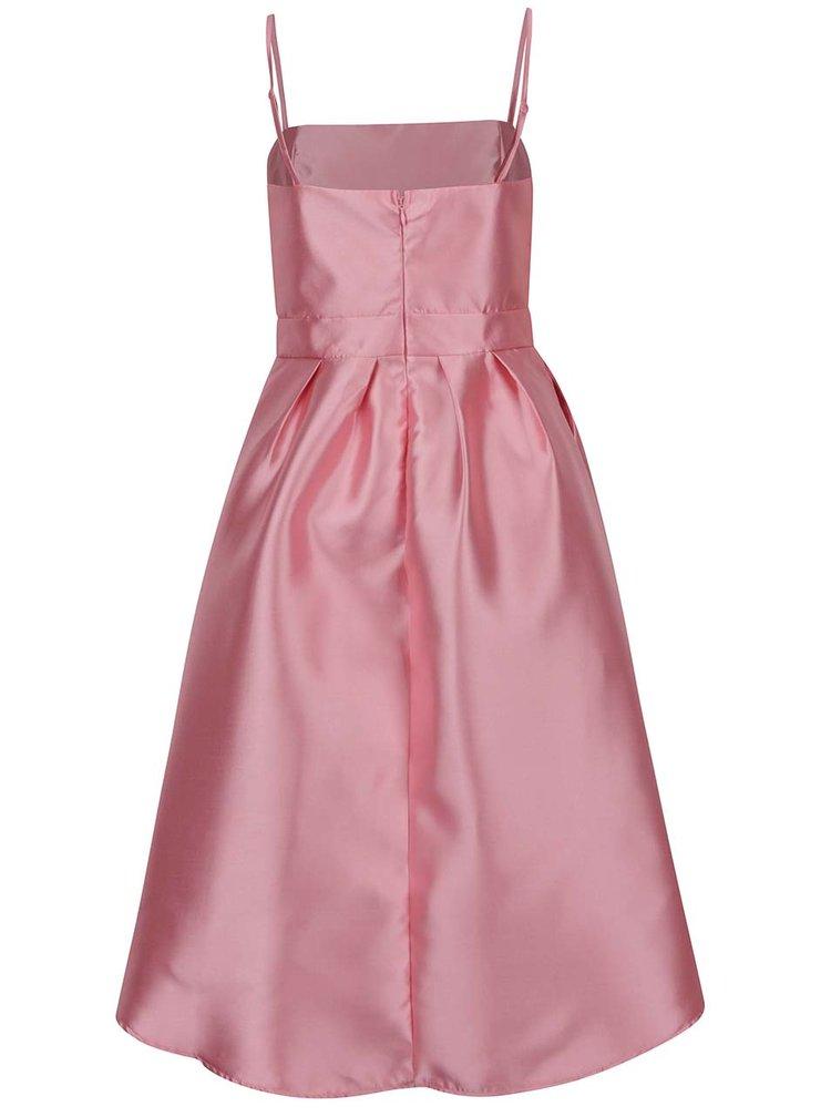 Růžové lesklé šaty s prodlouženým zadním dílem VERO MODA Sweety
