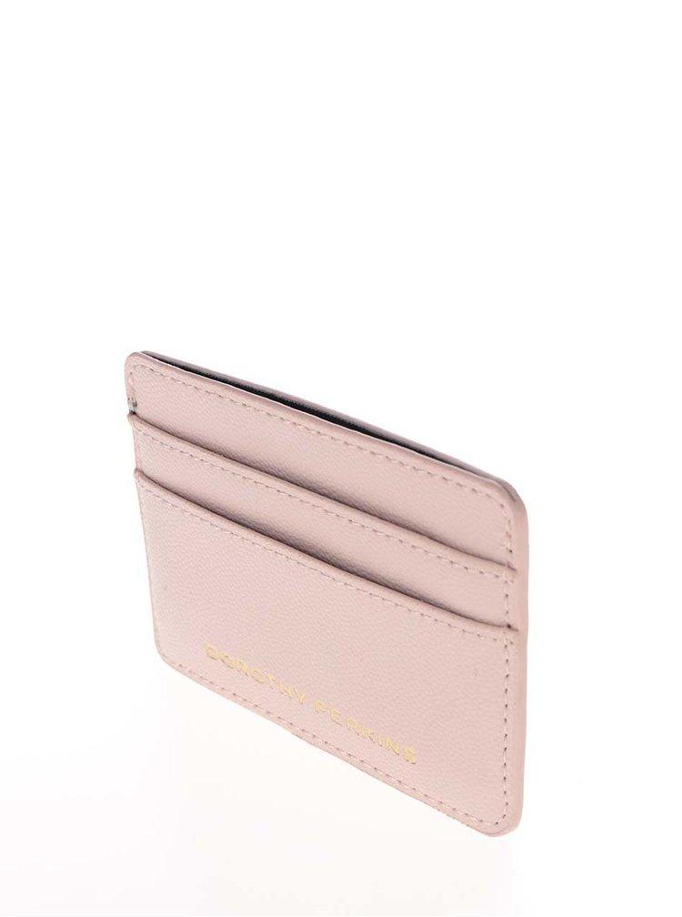 Růžová koženková peněženka na kreditní karty Dorothy Perkins