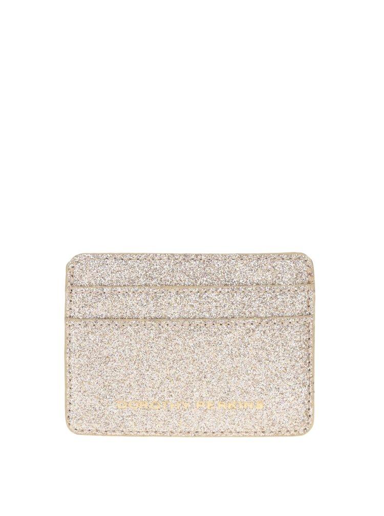 Malá peněženka na kreditní karty ve zlaté barvě Dorothy Perkins