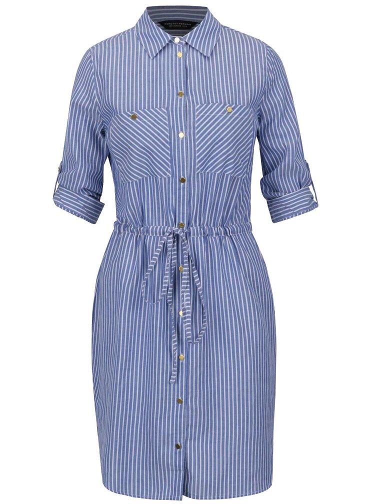 Bílo-modré košilové pruhované šaty Dorothy Perkins