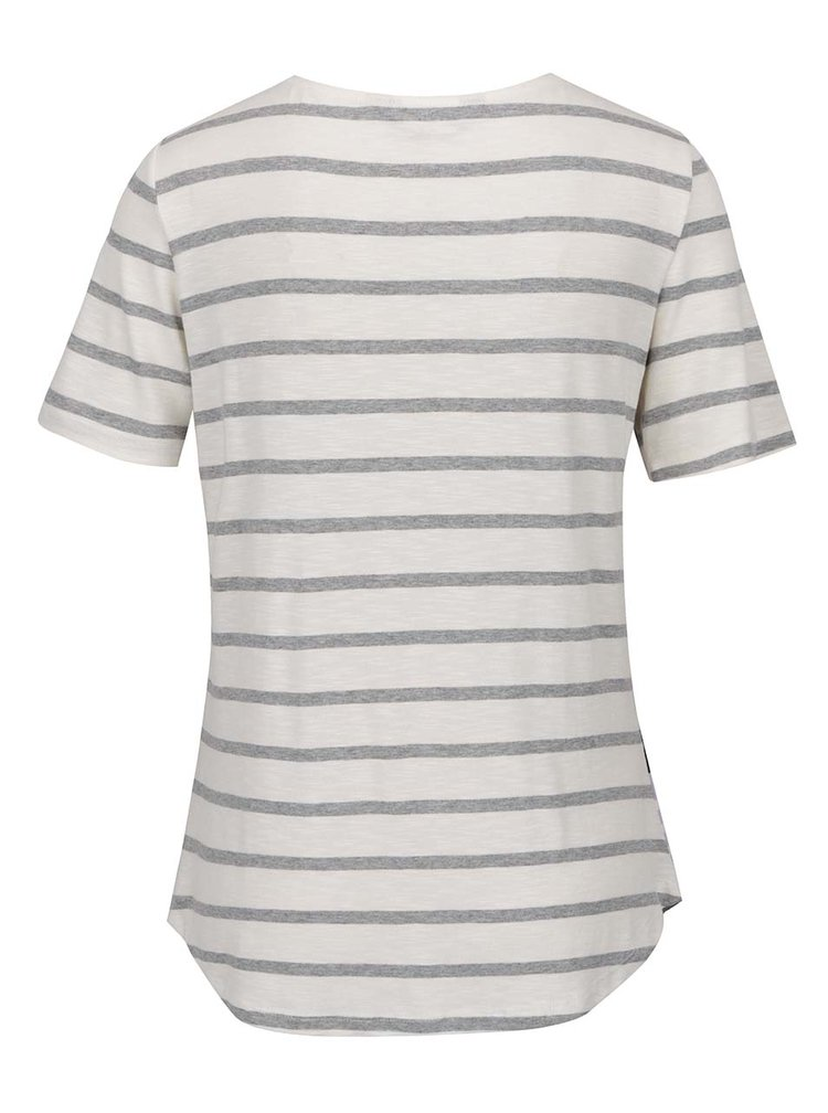 Krémové pruhované tričko s krátkými rukávy Dorothy Perkins