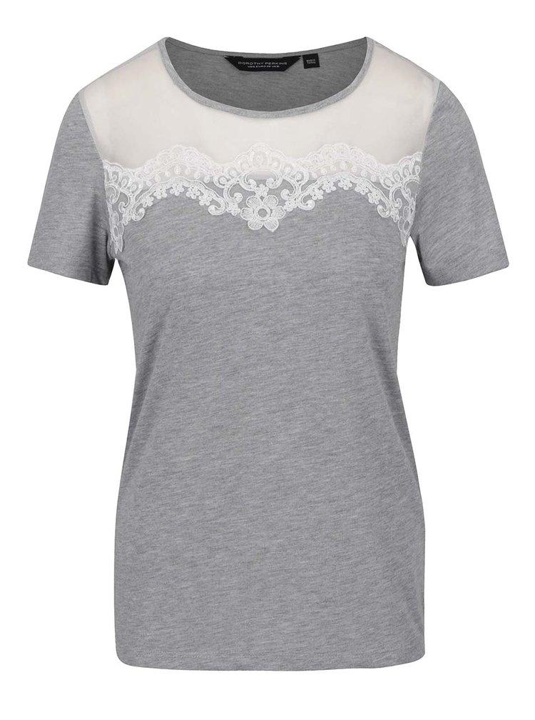 Šedé tričko s krajkou a průsvitným dekoltem Dorothy Perkins