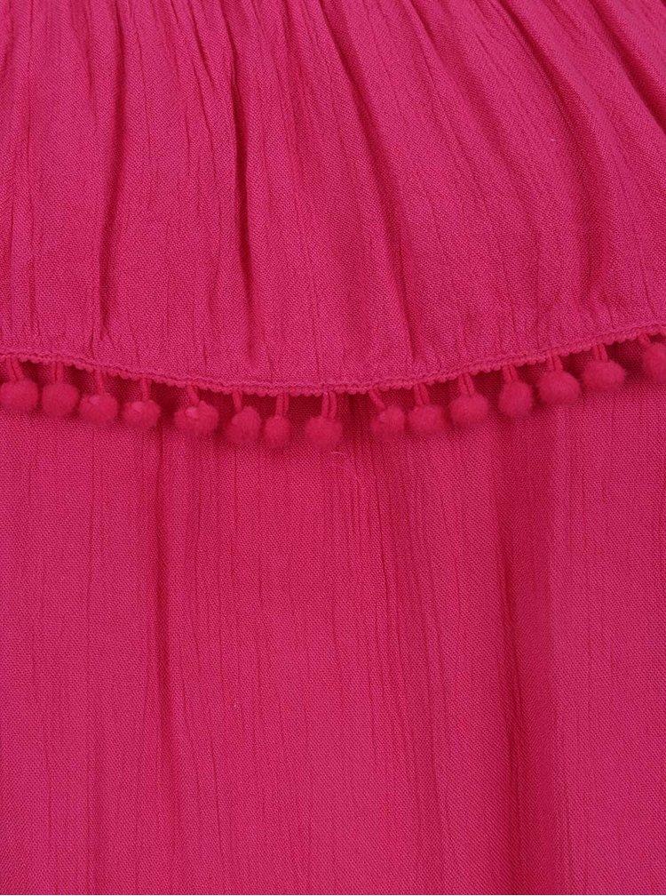 Top roz Dorothy Perkins cu volan amplu