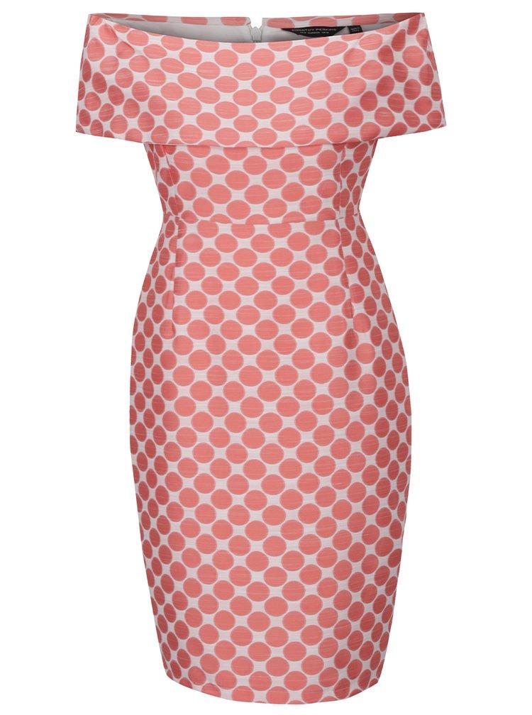 Rochie roz piersică Dorothy Perkins cu model cu buline