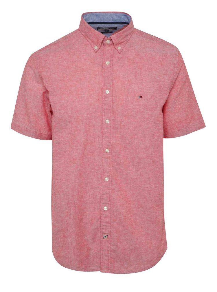 Červená žíhaná pánská košile s příměsí lnu Tommy Hilfiger