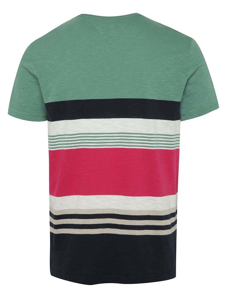 Modro-zelené pánské pruhované triko Tommy Hilfiger