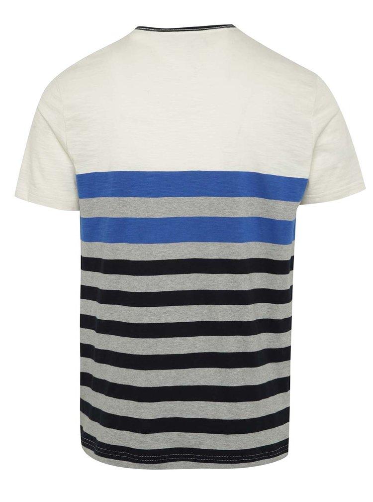 Šedo-krémové pánské pruhované triko Tommy Hilfiger