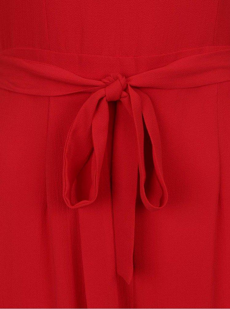 Salopetă roșie Dorothy Perkis cu volane decorative