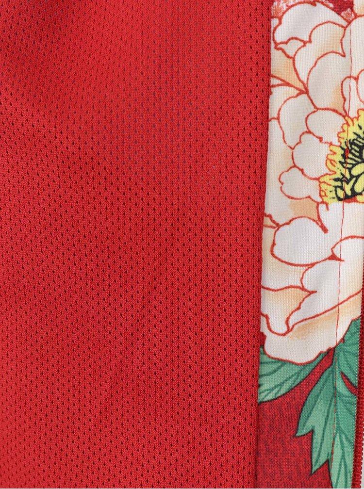 Červený květovaný mikinový dámský bomber adidas Originals