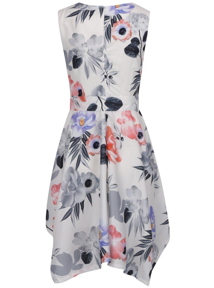 Bílé květované asymetrické šaty s páskem Mela London