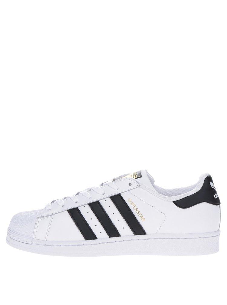 Pantofi sport albi din piele pentru bărbați adidas Originals Superstar