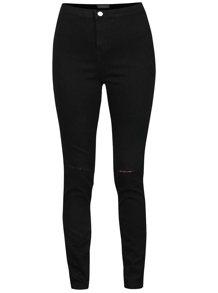 Černé džíny s vysokým pasem Dorothy Perkins
