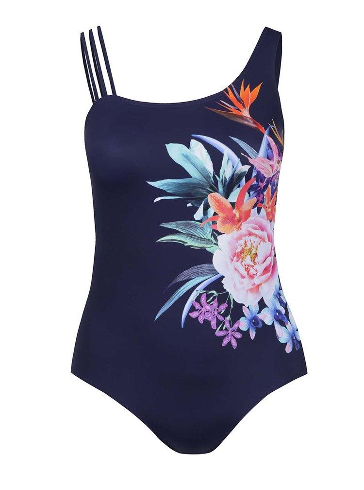 Tmavě modré jednodílné asymetrické květované plavky Ulla Popken