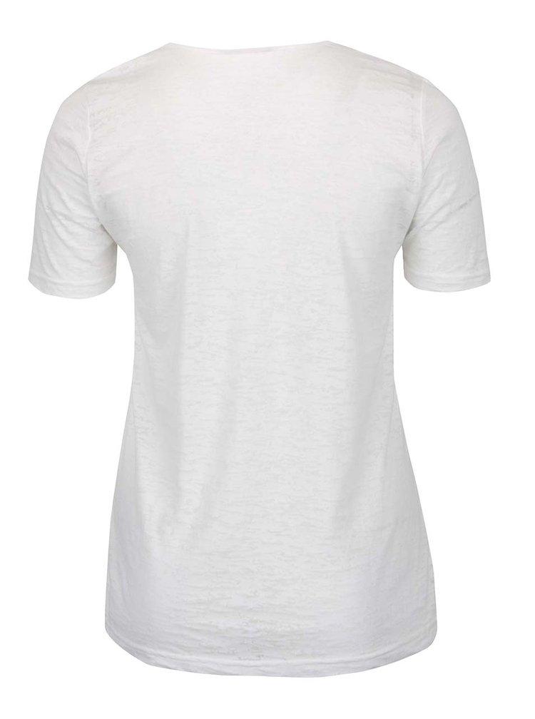 Krémové žíhané tričko s krajkou Ulla Popken