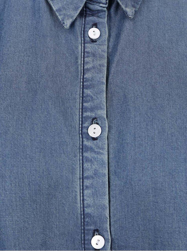 Camasa albastra Gina Laura cu aspect din denim