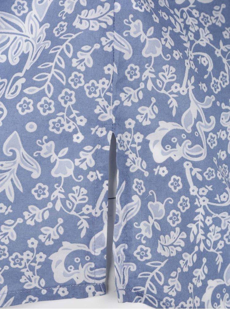 Modrá květovaná halenka s 3/4 rukávem Ulla Popken