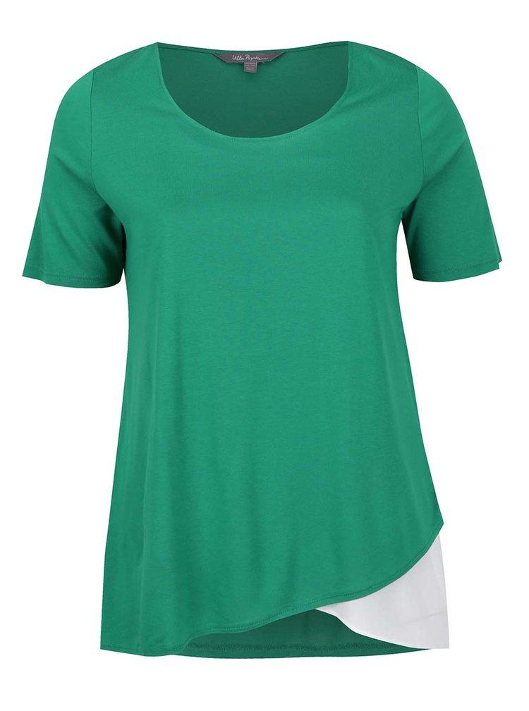 Tricou verde & crem Ulla Popken cu croi asimetric