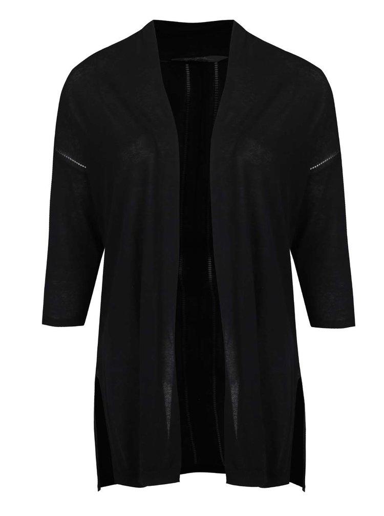 Cardigan negru Ulla Popken cu mâneci trei sferturi