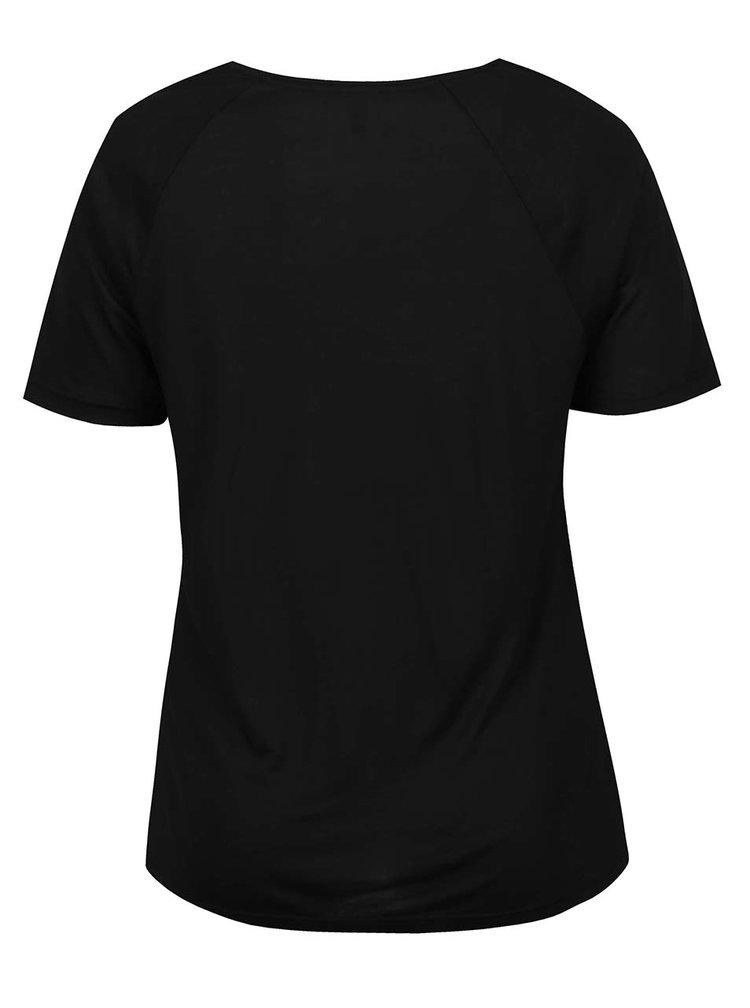 Černé tričko s kapsou Ulla Popken