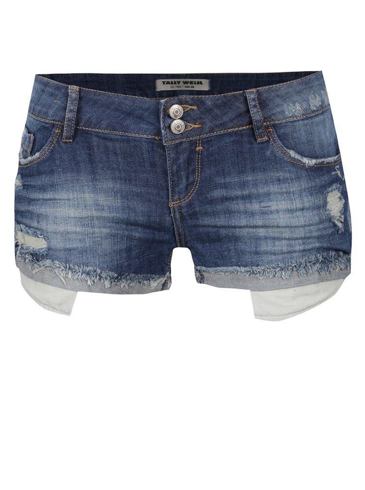 Tmavě modré džínové kraťasy s nízkým pasem a potrhaným efektem TALLY WEiJL
