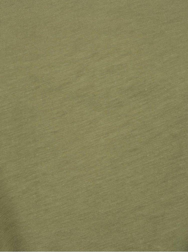 Khaki oversize tričko s uzlem Ulla Popken