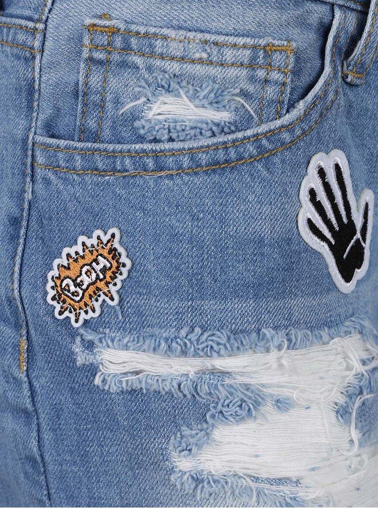 Modré džínové kraťasy s vysokým pasem a barevnými nášivkami TALLY WEiJL