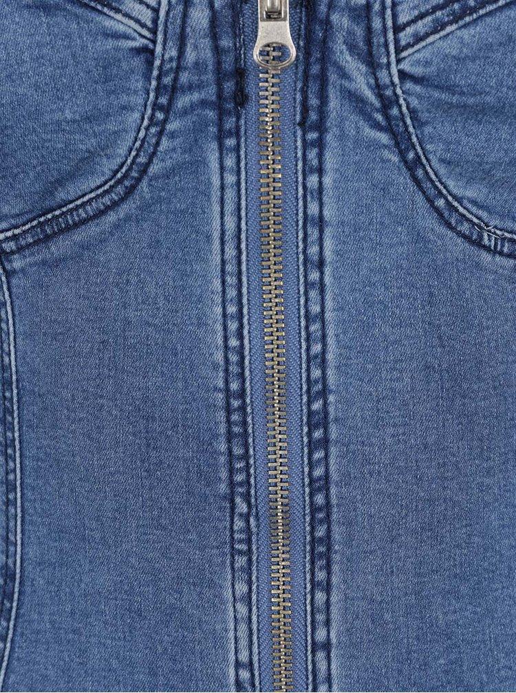 Modré džínové minišaty na ramínka se zipem TALLY WEiJL