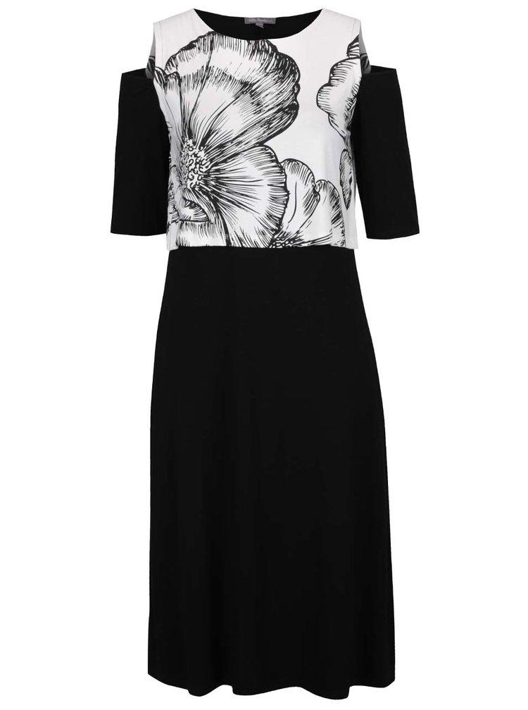 Krémovo-černé květované midišaty s průstřihy na ramenou Ulla Popken