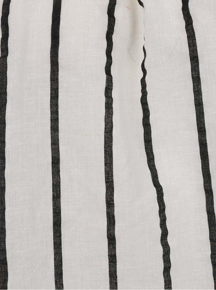 Černo-krémová pruhovaná halenka s příměsí lnu VERO MODA Stripy