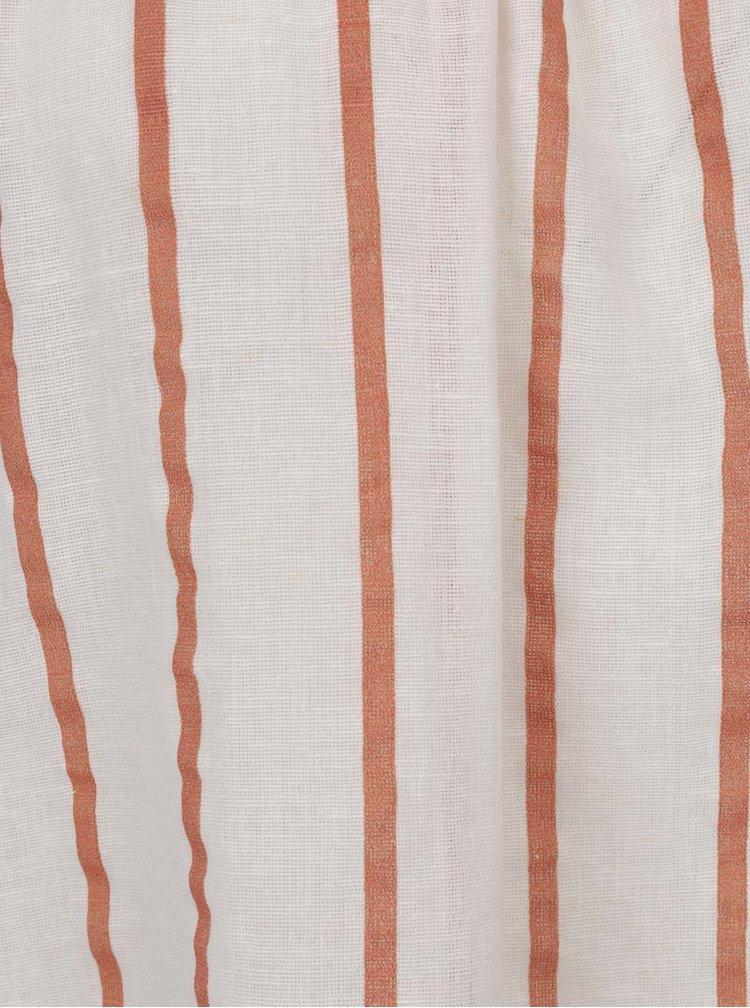 Hnědo-krémová pruhovaná halenka s příměsí lnu VERO MODA Stripy
