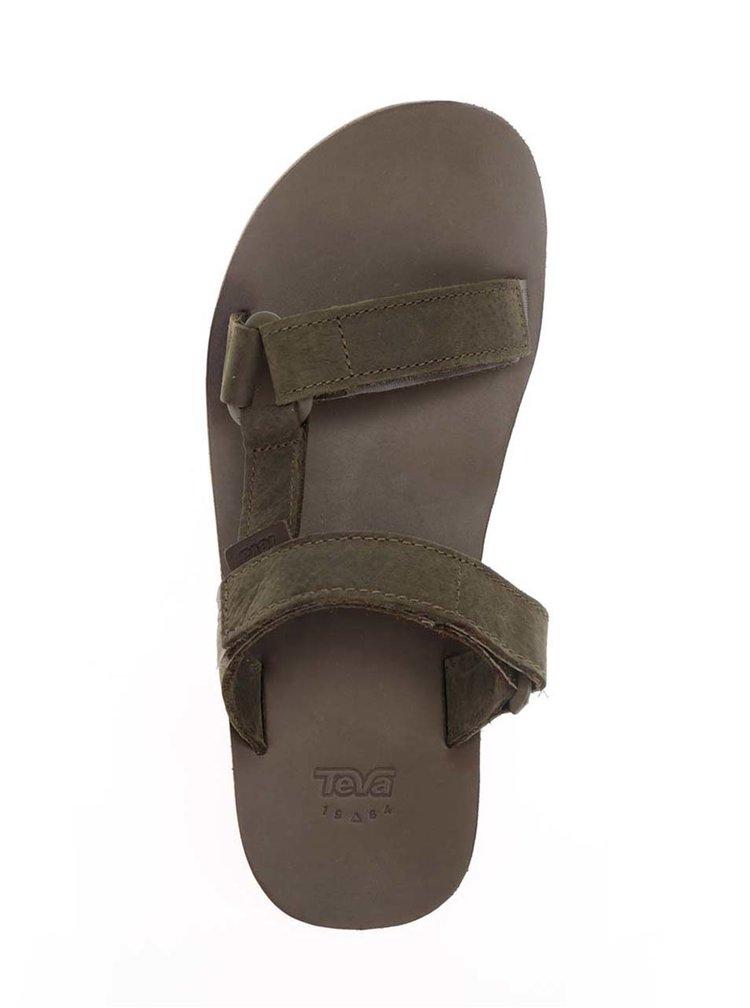 Tmavě zelené pánské kožené pantofle Teva