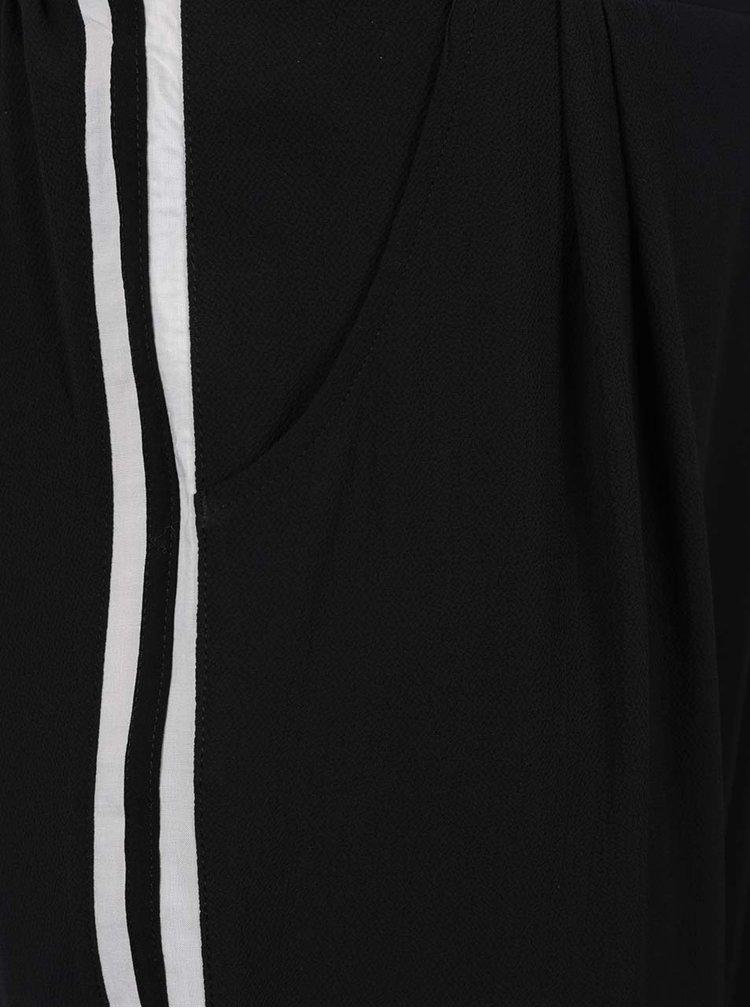 Černé lehké kalhoty s pruhy na bocích Gina Laura