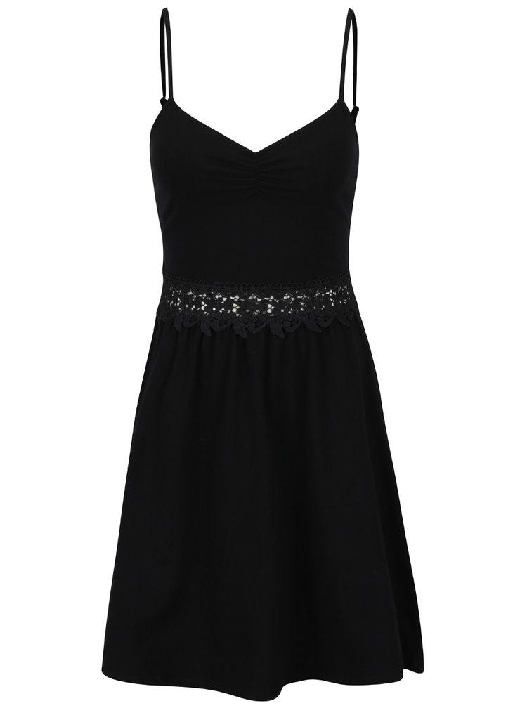 Černé šaty s krajkou v pase TALLY WEiJL