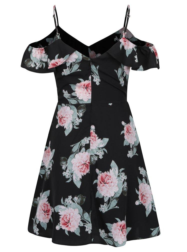 Červeno-černé květované šaty s odhalenými rameny TALLY WEiJL