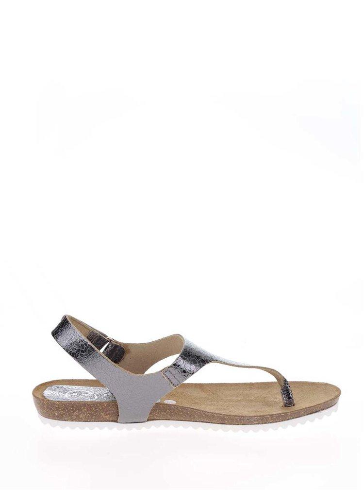Tmavě šedé kožené dámské sandály OJJU