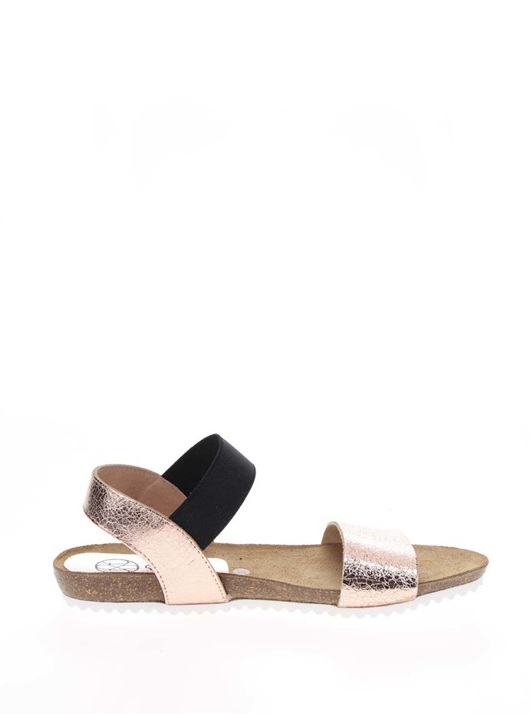 Dámské kožené sandály v růžovozlaté barvě OJJU
