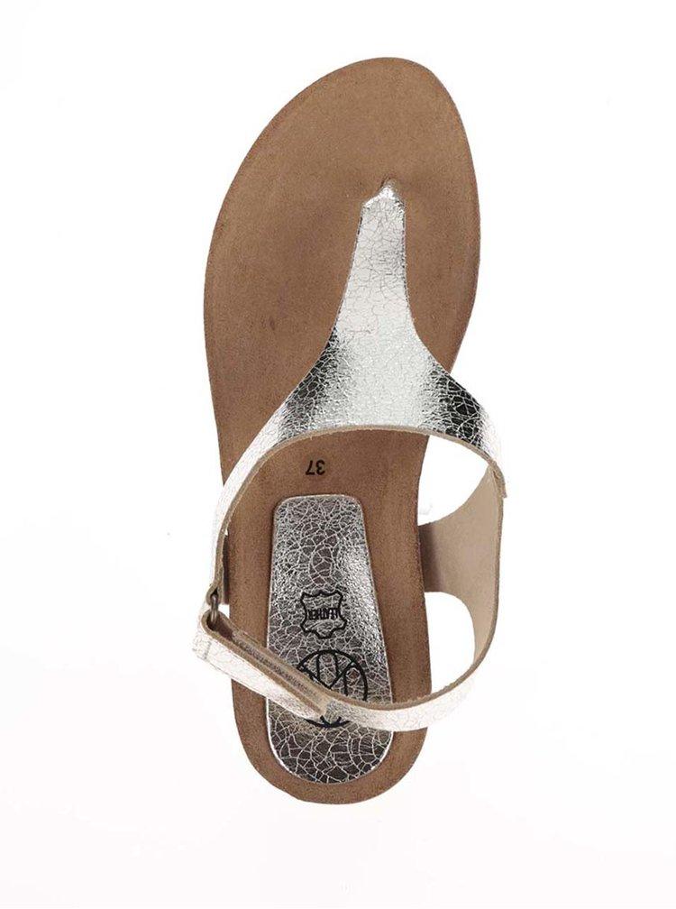 Sandale flip flop aurii din piele OJJU