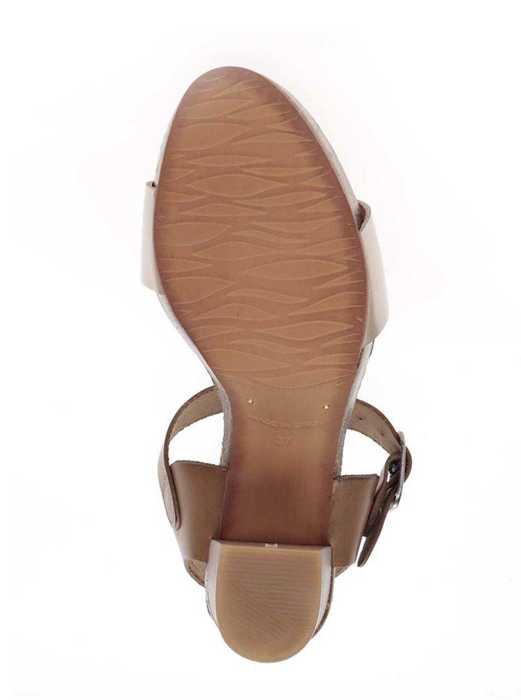 Béžové kožené sandálky na širokém podpatku OJJU