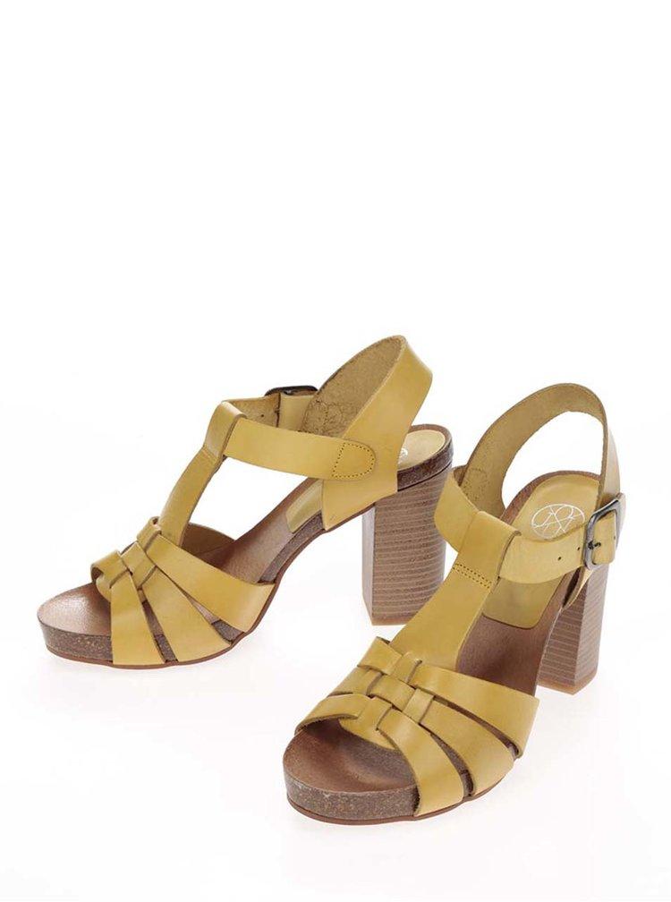 Žluté kožené sandálky na širokém podpatku OJJU