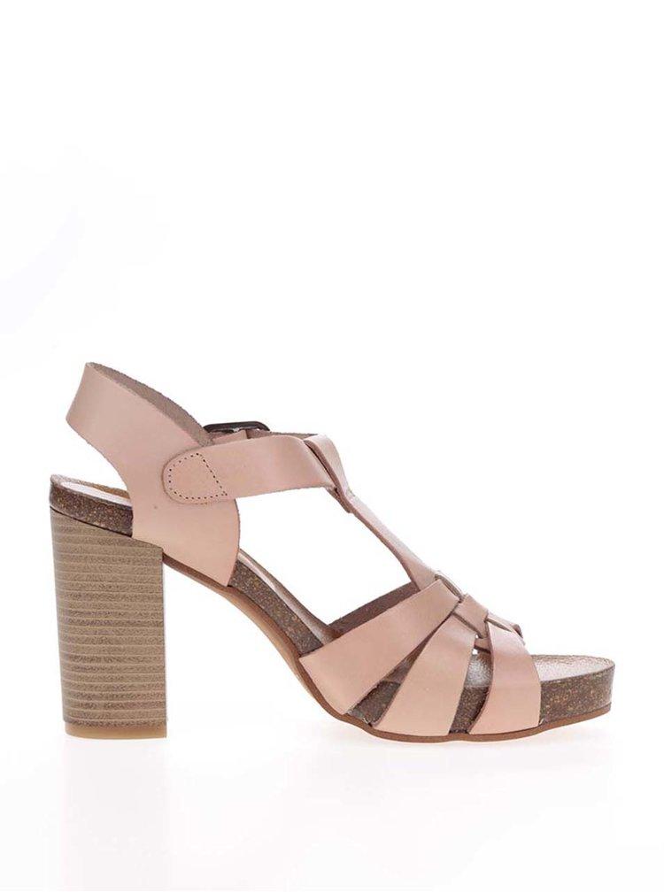 Starorůžové kožené sandálky na širokém podpatku OJJU
