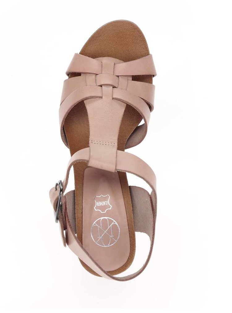 Sandale roz prafuit din piele cu toc masiv OJJU