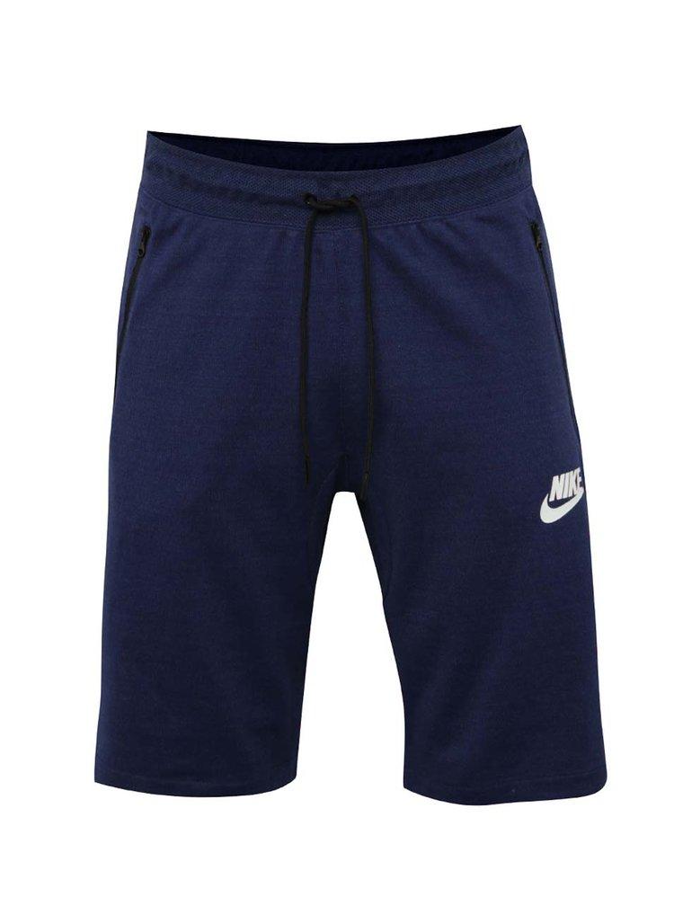 Modré pánské slim fit teplákové kraťasy Nike Sportwear Advance 15