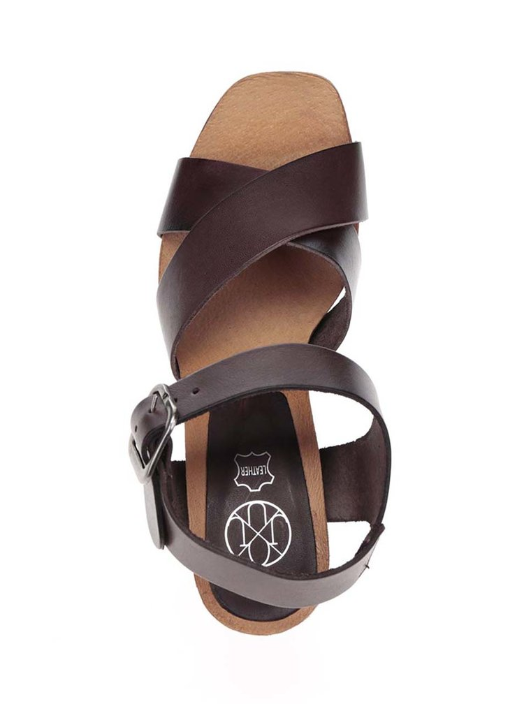 Tmavohnedé kožené sandálky na vysokom podpätku OJJU