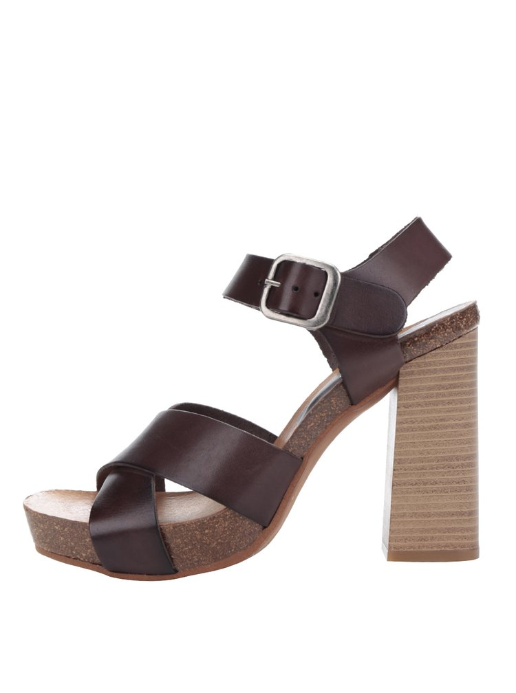 Tmavě hnědé kožené sandálky na vysokém podpatku OJJU