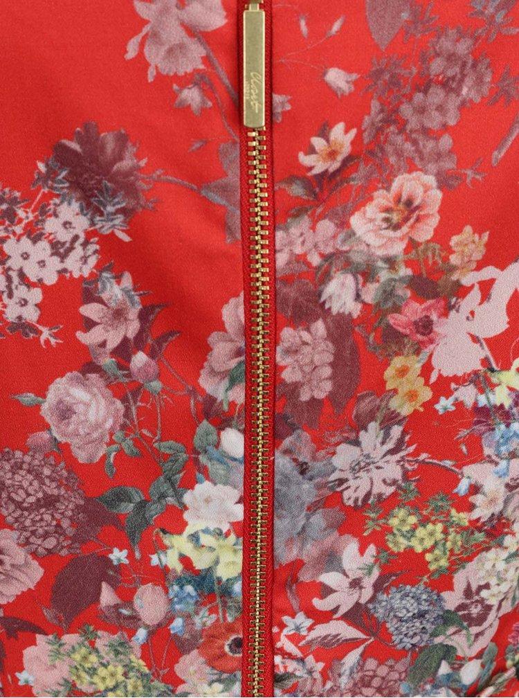 Červené květované šaty s mašlí Closet