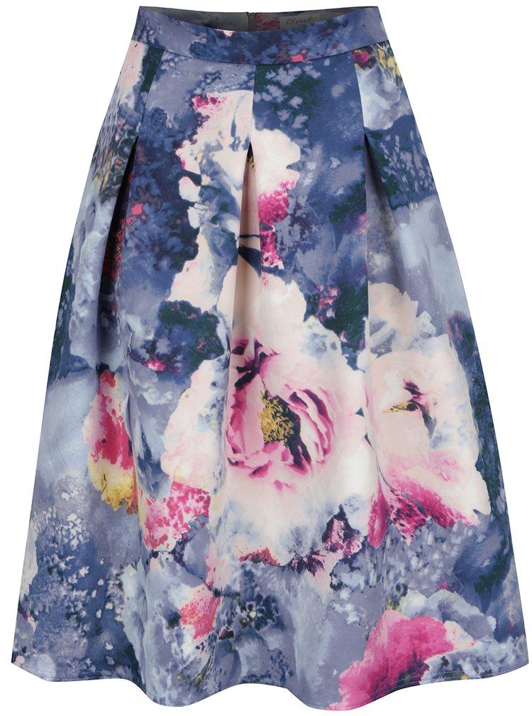 Růžovo-modrá květovaná skládaná sukně Closet